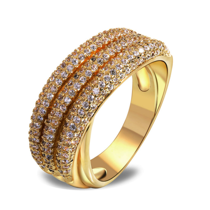 Women Rings' Secret Latest 18K Real Gold Plated Wedding Rings 209 pcs 3 Rolls of Cubic Zircon Pave Setting Free Shipping(China (Mainland))