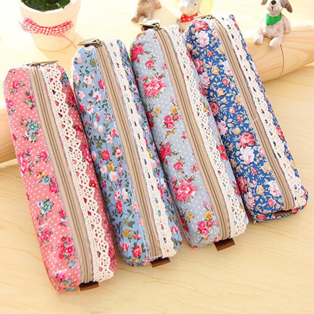 Hot sale Fashion Mini Retro Flower Floral Lace Pencil Shape Pen Case Cosmetic Makeup Make Up Bag Zipper Pouch Purse(China (Mainland))