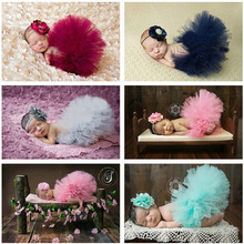 2016 NEW Baby Girl Tulle Tutu with Matching Flower Headband Set Newborn Photography Props Little Girl Tutu Skirt 6 colors GM001(China (Mainland))