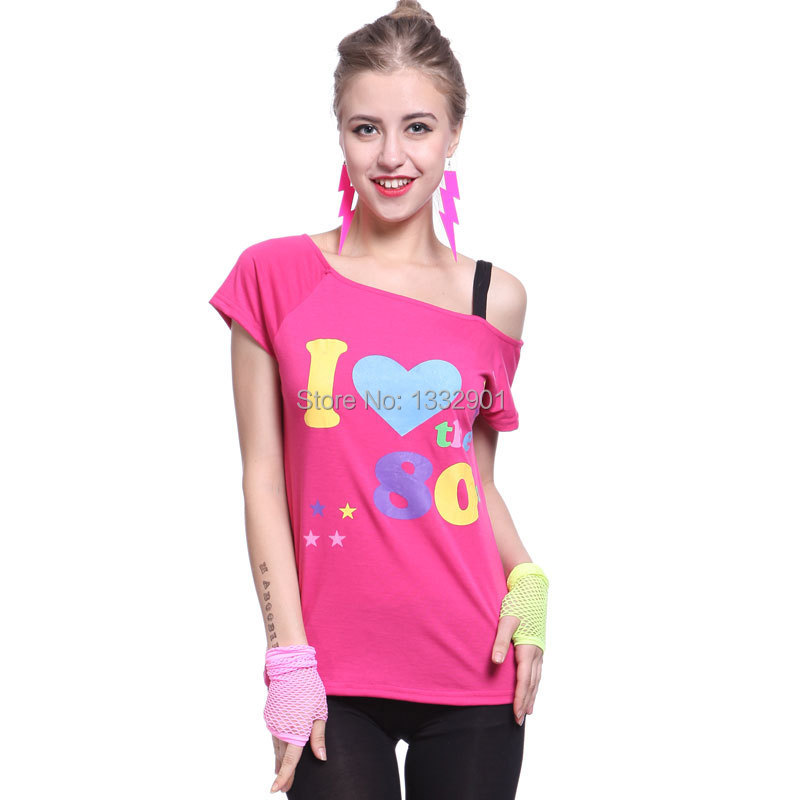 Adult Women Pink Sexy I Love The 80s Retro T-Shirt Fancy Dress Party Costume(China (Mainland))
