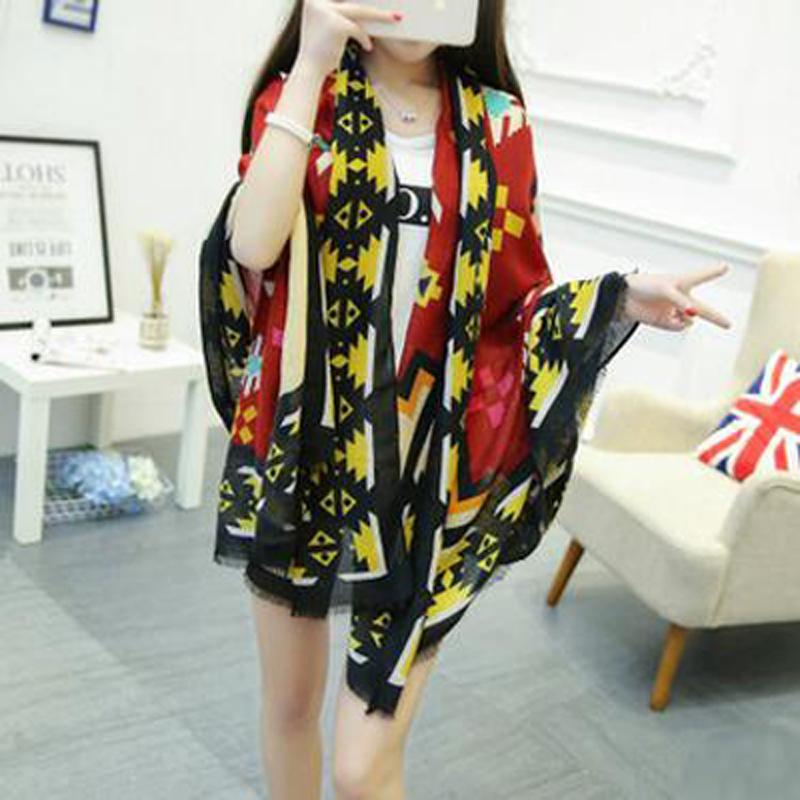 2016 Hot sale 4 seasons printing women shawl soft cotton & linen twill silk scarves geometry short tassel women fashion shawl(China (Mainland))