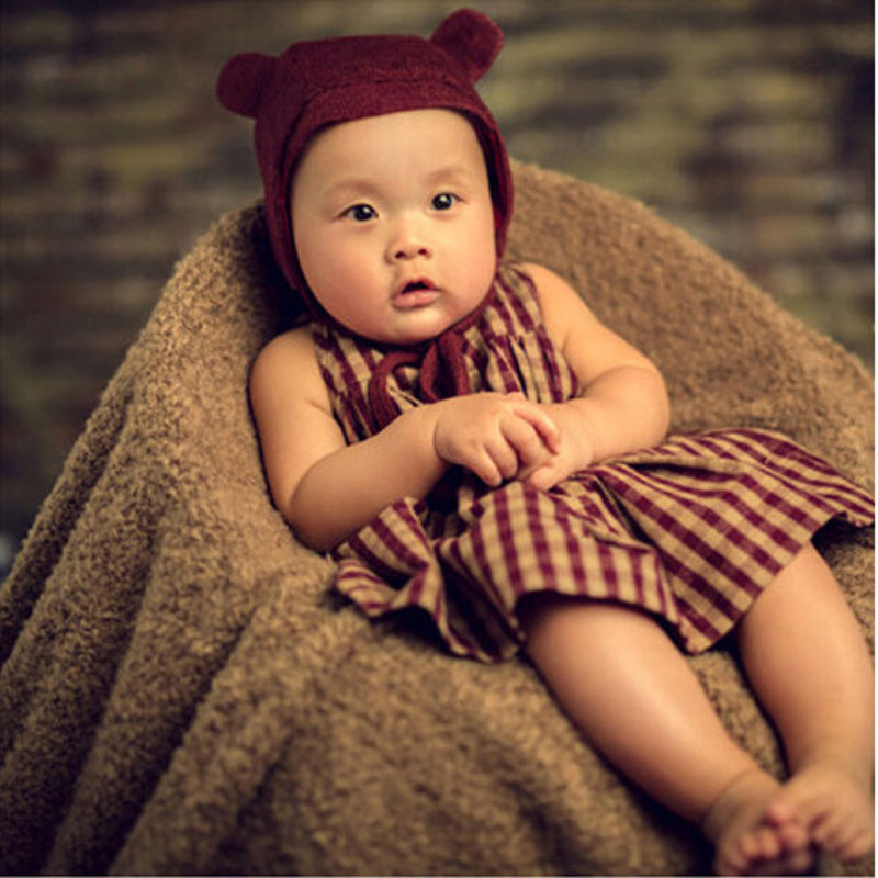 New Arrival Baby Cotton hat and Plaid Body suit & skirt Baby Boy Girl Shooting Props Newborn Photography Props(China (Mainland))