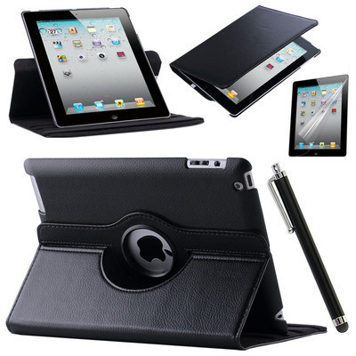 Case Cover For Apple iPad Air 2/iPad 6 (2017) PU Leather Flip Smart Stand 360 Rotating Case Screen Protector Film Stylus Pen