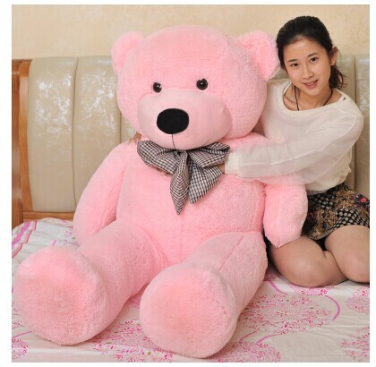 stuffed animal lovely teddy bear 140cm pink bear plush toy soft doll throw pillow gift w3376(China (Mainland))