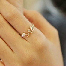 Cute Musical Note Openings Adjustable Rhinestone Midi Rings for Women Jewelry(China (Mainland))