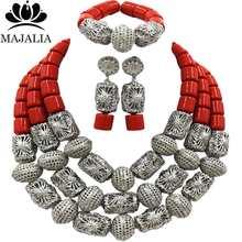 Majalia אופנה פנינת אפריקה חתונה ניגרי ירוק כהה קורל שרשרת תכשיטי סט תכשיטי כלה להגדיר משלוח חינם 3AQ001(China)