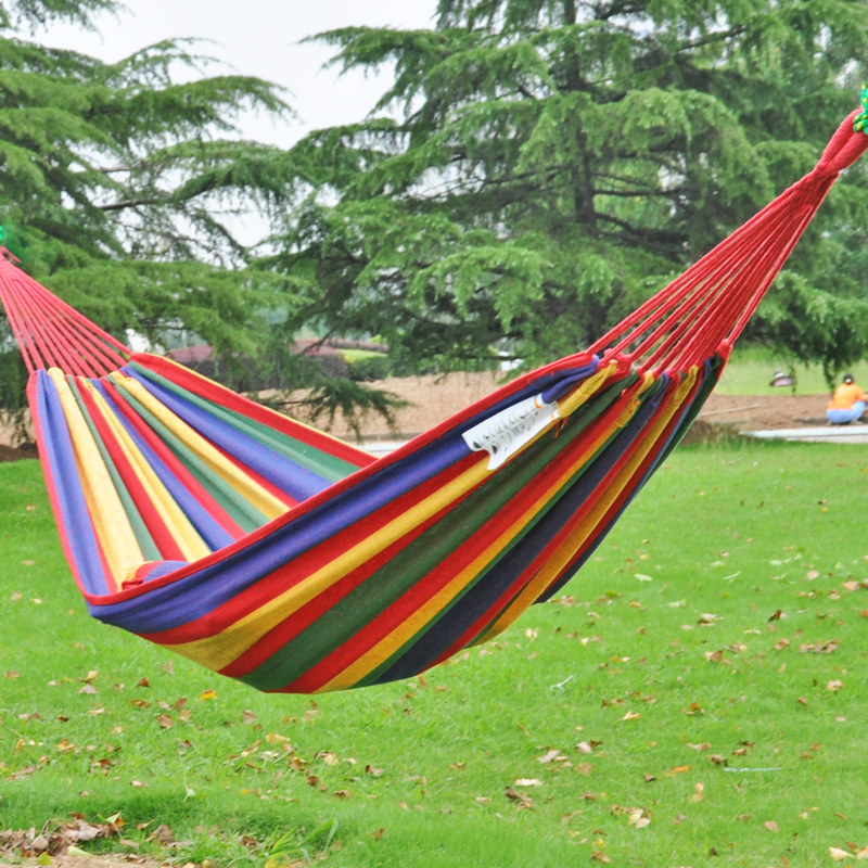Two Person hammock, cotton hammock tourism camping hunting Leisure Fabric Stripes Outdoor hammocks(China (Mainland))