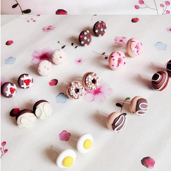 100% Handmade 1 Pair Lovely Handmade Mini Fimo Cake Earrings Studs ...