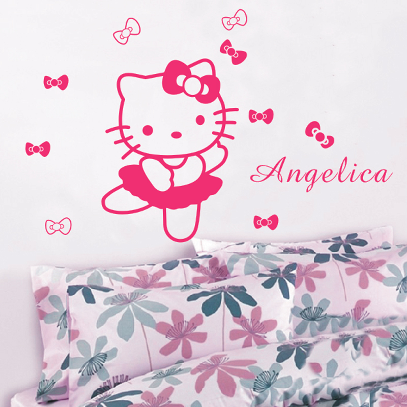 HELLO KITTY Personalized Name Flowers or Ties Vinyl Wall Decals Art adesivo de parede Princess Wall Stickers Girl Bedroom Decor(China (Mainland))