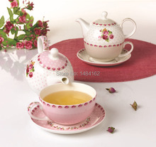 Gift Set Creative Korean Style Rose Pattern Bone China Ceramic Tea and Coffee Set Teapot Cup and Saucer
