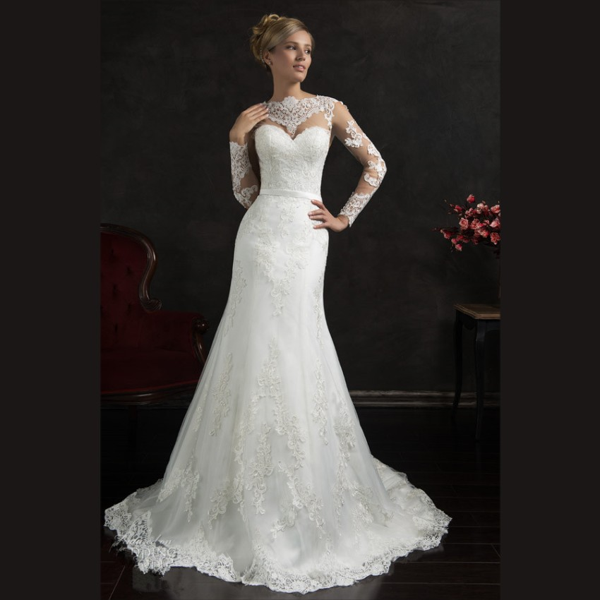 romantic white lace wedding dresses court train mermaid wedding gowns