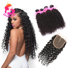 Indian Virgin Curly Hair With Closure 100% Human Hair With Closure Grade 7A Indian Curly Hair Bundle Deals With Lace Closure