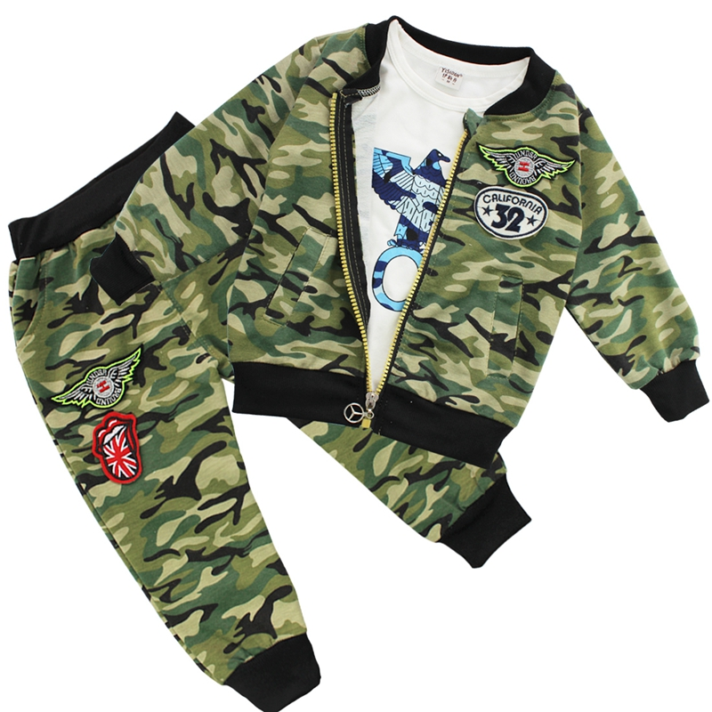 Cool Fashion Boy's Girls Baby Camouflage Coat + T-shirt + Pants Casual Outfit 3 Piece Tracksuits Spring Fall Clothes 4 COLORS(China (Mainland))