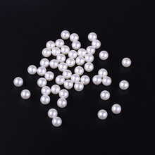 12mm No Hole Round Beads 50pcs/lot Wholesale Ivory Imitation Pearl Indian Bead For DIY Earrings Jewelry Making Cloth Decorations