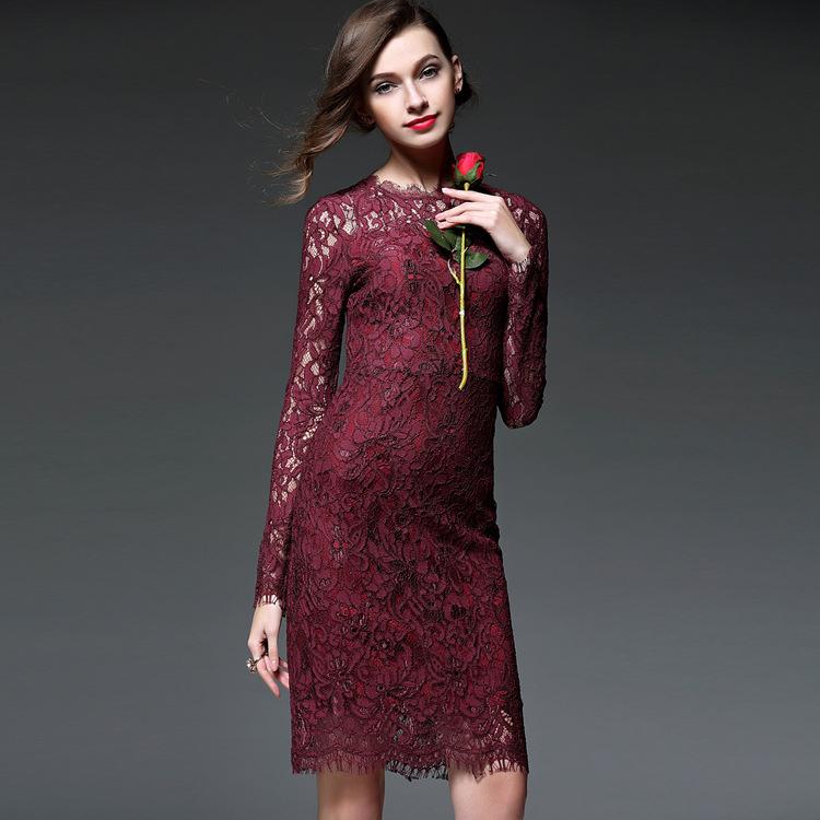 Shenzhen Nanyou 2016 spring dress Europe high-end brand lace dress Tuxedo Dress T3685