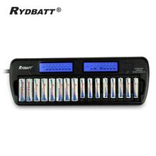 Free Ship/OEM 16 Solts LCD Smart Cells Battery Charger AA AAA Ni-MH Ni-Cd 16-bay 16-Slot 16-Bank Fast Charger