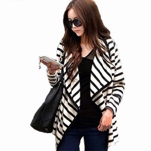 Spring Autumn Women Tops Blouse Cardigan Jacket Outerwear S M L Ladies Long Sleeve Striped Peplum Casual free shipping(China (Mainland))