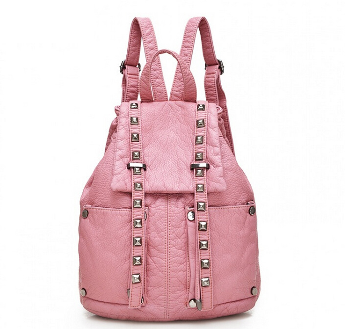 Women backpack brand new rivet fashion soft black pink leather school bag backpack bag female backpacks for youth high school