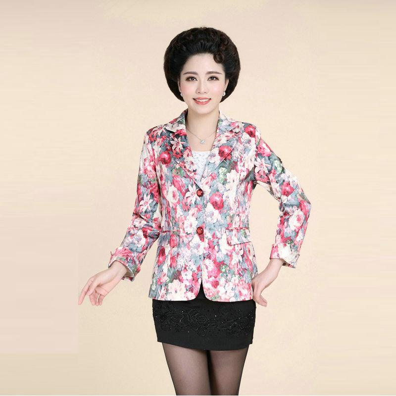 Beautiful Elegant Women Blazers Floral Jaqueta Feminina Plus Size Middle Aged Women Jackets Pink Blazer Ladies Autumn Style 5XL(China (Mainland))