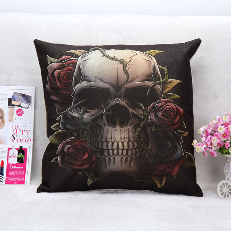 Pouf 18x18 Mexican Sugar Skull Decorative Throw Pillows Kussens Home Decor Cushion Coussin Decoration Cuscini Cojines Almofadas