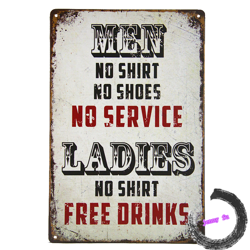 Retro Man Cave Signs : Ladies no shirt free drinks large metal sign funny retro