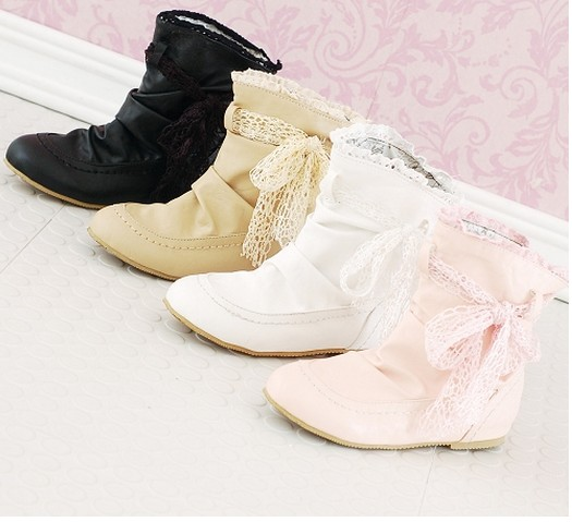 ENMAYER new 2014 Ankle boots Ribbons women flats boots Round Toe Girls fashion platform boots Spring / Autumn summer boots<br><br>Aliexpress