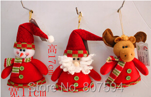 Christmas Decoration Supplies 3pcs/lot 17cm Indoor Christmas Hanging Santa Claus Snowman Bear Dee Wedding Decoration S60