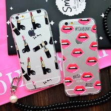 Hot selling Luxury TPU Transparent Phone Case Back Cover for IPhone 6 6s 4.7 Case Fashion Lips Lipstick shoes dog Print case(China (Mainland))