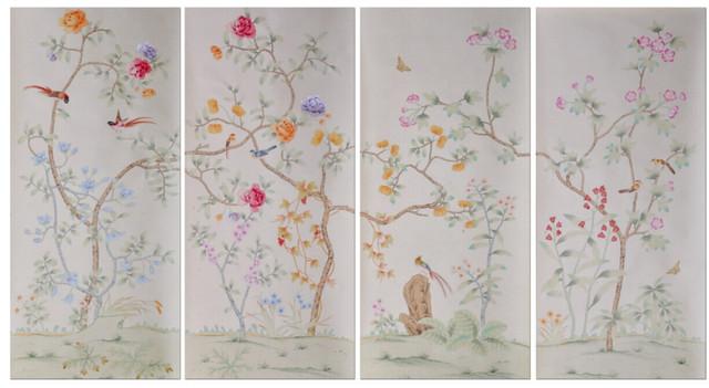 Nico estilo chino papel pintado de seda pintado a mano la - Papel pintado a mano ...