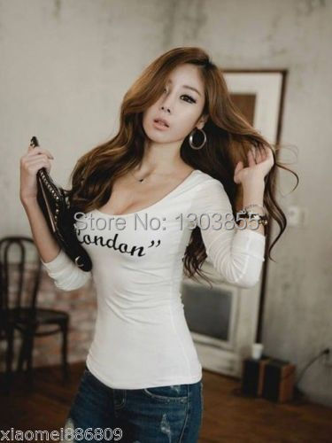 2014 New Korean Fashion Women Loose Scoop Cotton Tops Long Sleeve Shirt Casual BlouseSize S M
