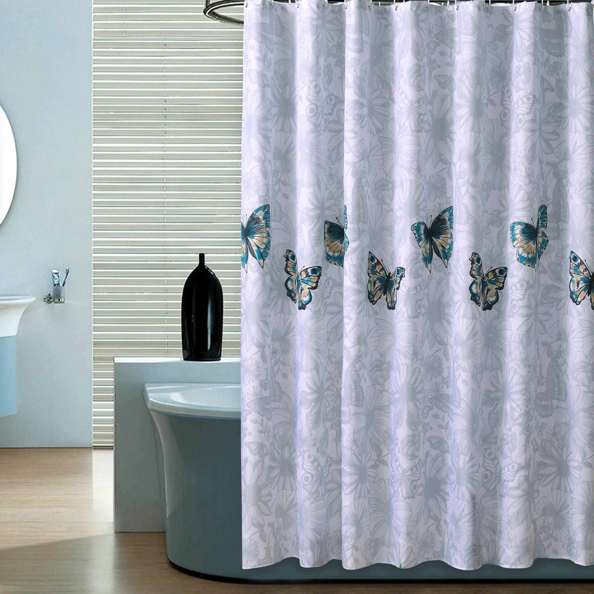 The High Grade Butterfly Shower Curtains Dacron Cloth