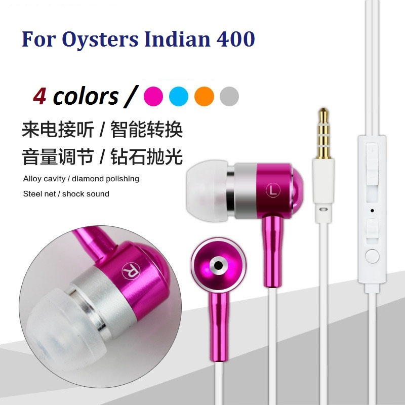 High Quality 3.5Mm in-ear Earphones Metal Stereo Headphones Earbud Super Bass forOysters Indian 400 MP3 MP4 Music(China (Mainland))