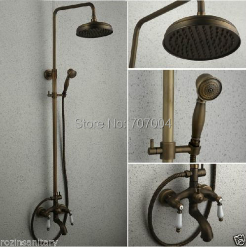Retro Style Bath Shower Combination Tap Faucet Dual Handle Shower/bath Mixer Tap Antique Brass(China (Mainland))