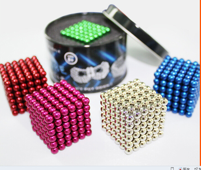 Free shipping neocube / 216 pcs color 5mm Magnetic balls buckyballs cyber cube magcube magic cube at metal tin box gift toy(China (Mainland))