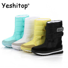 2016 NEW! Warm Solid Anti-Slip Snow Boots Women Waterproof Female Winter Boots Thermal Shoes Botas Mujer Plataforma Black&White(China (Mainland))