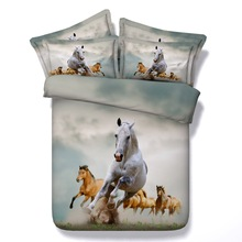 JF-087 Luxury Running white horse duvet cover set queen size bed linen 3D horses bedding sets king sheets(China (Mainland))