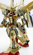 Free shipping dragon peaches akatstuki MG 1: 100 gold plated version  double equip dawn akatstuki Gundam Get a FREE water paste