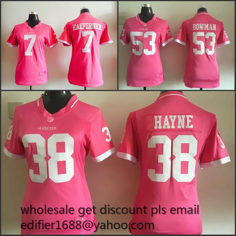 women PINK love San Francisco 49ers ladies 53 NaVorro Bowman 38 Jarryd Hayne 7 Colin Kaepernick 52 Patrick Willis,camouflage(China (Mainland))