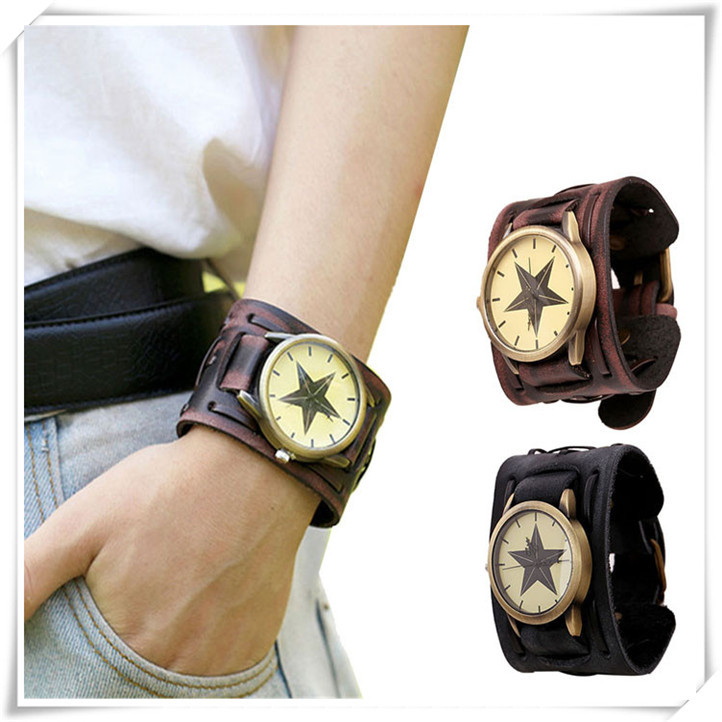 Newly Design New Style Retro Punk Rock Brown Big Wide Leather Bracelet Cuff Men Watch Cool June16(China (Mainland))
