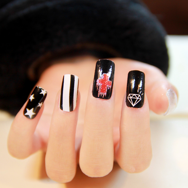 $1 new designs 2014 nails art stickers DIY nail decorations high nail polish quality for women 9 rock styles wholesale price(China (Mainland))