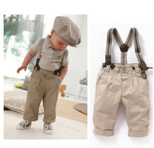 T shirt + Pants +  shoulder straps set Kids Boys children Baby Clothes Toddler Sets Gentleman Overalls Outfit Top Bib