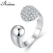 Bijoux Femme Opening Adjustable Ring Silver 925 Plated Princess Scale back Engagement AAA Zircon Ring Flashing Get collectively Bulgaria Jewelry
