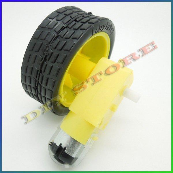Wholesale 10pcs/lot Smart Car Robot Plastic DC 3V-6V Drive Gear Motor +tyre+for Tire Wheel +free shipping-10000430