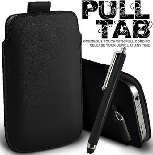 Black Pull Tab Leather Pouch Case Skin & Stylus For SAMSUNG i9100 Galaxy S2 SII Sprint T989(China (Mainland))