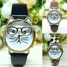 Moda de nueva marca 2015 Unisex mujeres hombres de lindo gato de los vidrios de cuero de imitación pulsera de cuarzo analógico reloj de pulsera