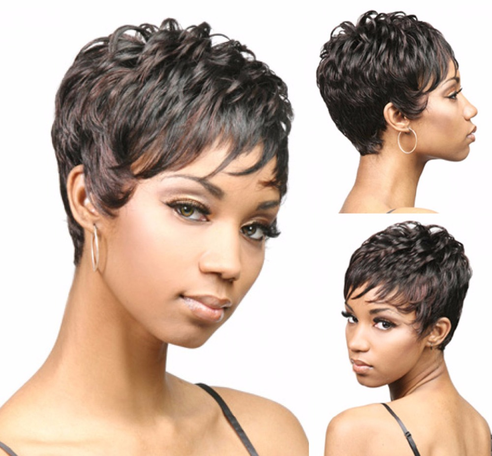 Synthetic short Wig with bangs for black women pixie cut Heat Resistant Natural Black straight african american hair wigs peruca(China (Mainland))