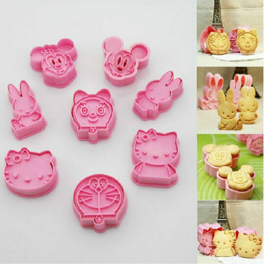 8 pcs cookie cutter mickey Minnie hello kitty doraemon cooking tools styling tools cake decorating tools free shipping AF015(China (Mainland))