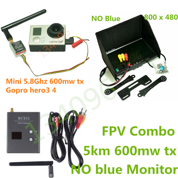 FPV Combo System 5.8Ghz 600mw 5km Transmitter and Receiver for Gopro xiao yi xiao mi SJ4000 SJCAM QAV250 DJI Phantom Quadcopter(China (Mainland))