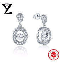 925 Sterling Silver Dancing CZ Diamond Dangle Earrings Gold Women Fashion Hanging Female Sterling-Silver-Jewelry - YL Joanna's Jewelry Store store