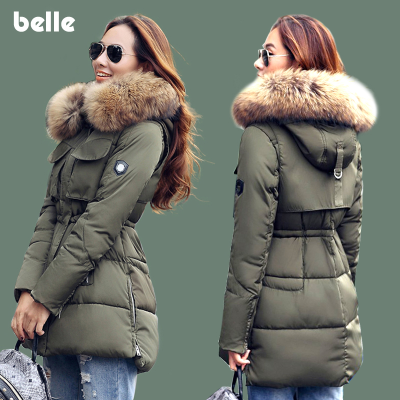 New Fashion Winter Jacket Women Large Real Raccoon Fur Collar Hooded Jacket Thick Coat For Women Outwear Parka(China (Mainland))